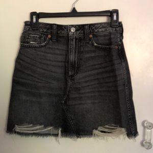 black denim miniskirt